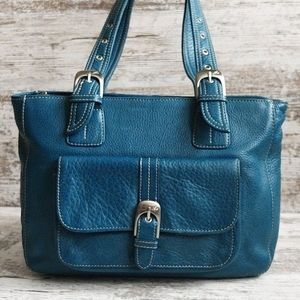 🔵Stone Mountain Teal Leather Bag